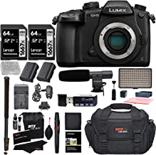 بدنهی Panasonic GH5 Lumix 4K Mirrorless ILC Camera Body ، Transcend Memory 64 GB ، کیسه دوربین RRZ Gear SLR ، 2 باتری ، شارژر و بسته نرم افزاری لوازم جانبی DC-GH5KBODY