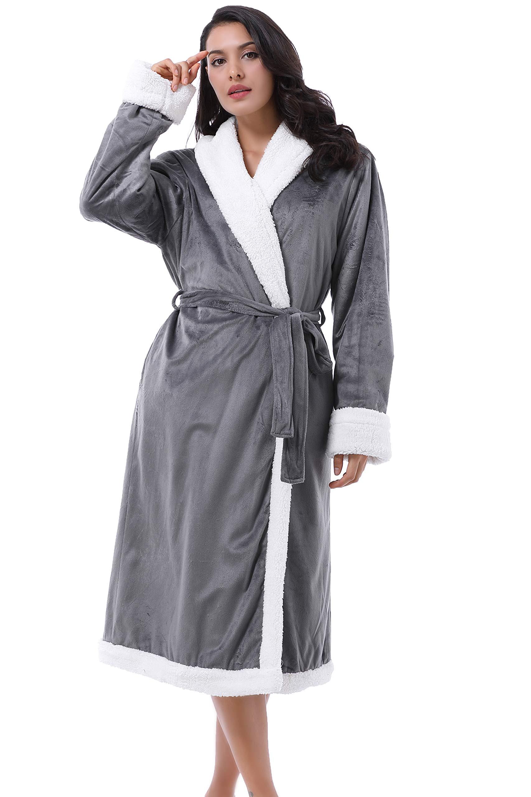 Amazon Com Catalonia Women S Sherpa Bathrobe Soft Warm Fleece Long Robe Shawl Collar Comfy Full Length Home Kitchen