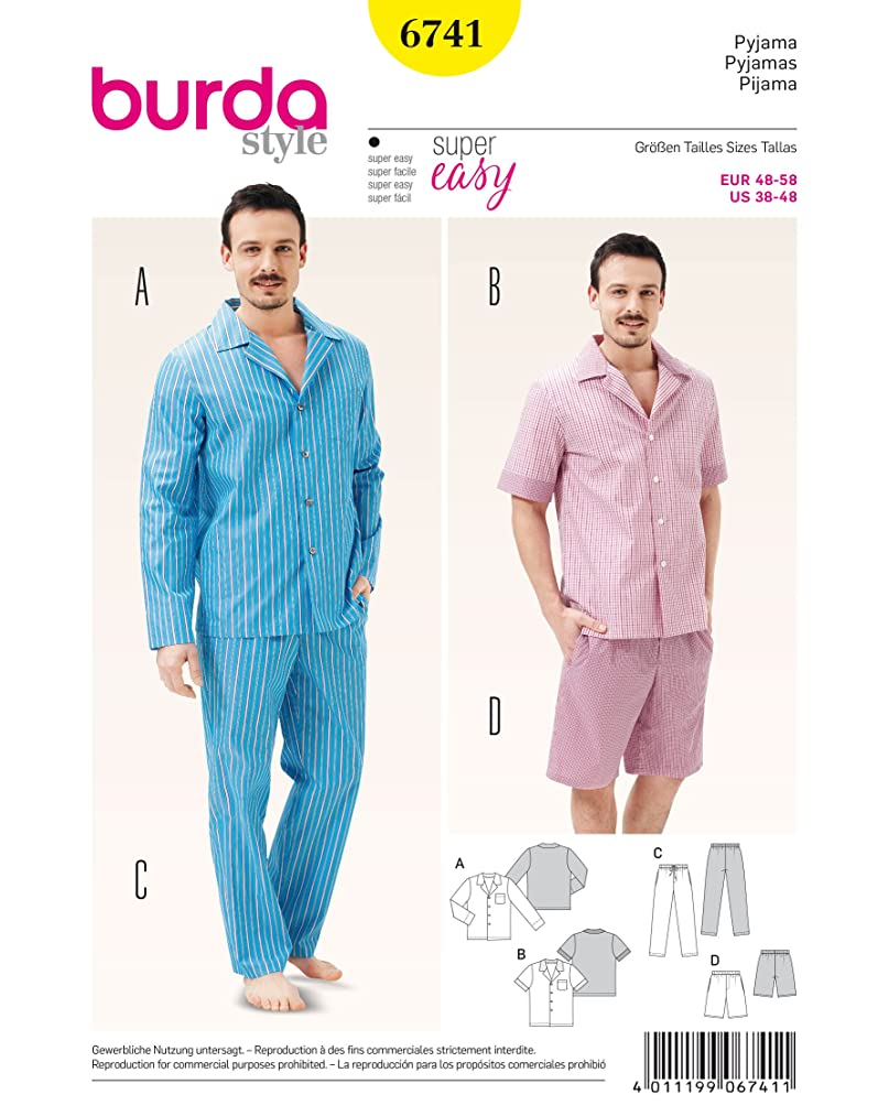 Burda Mens Pajamas 6741 sizes 38-48