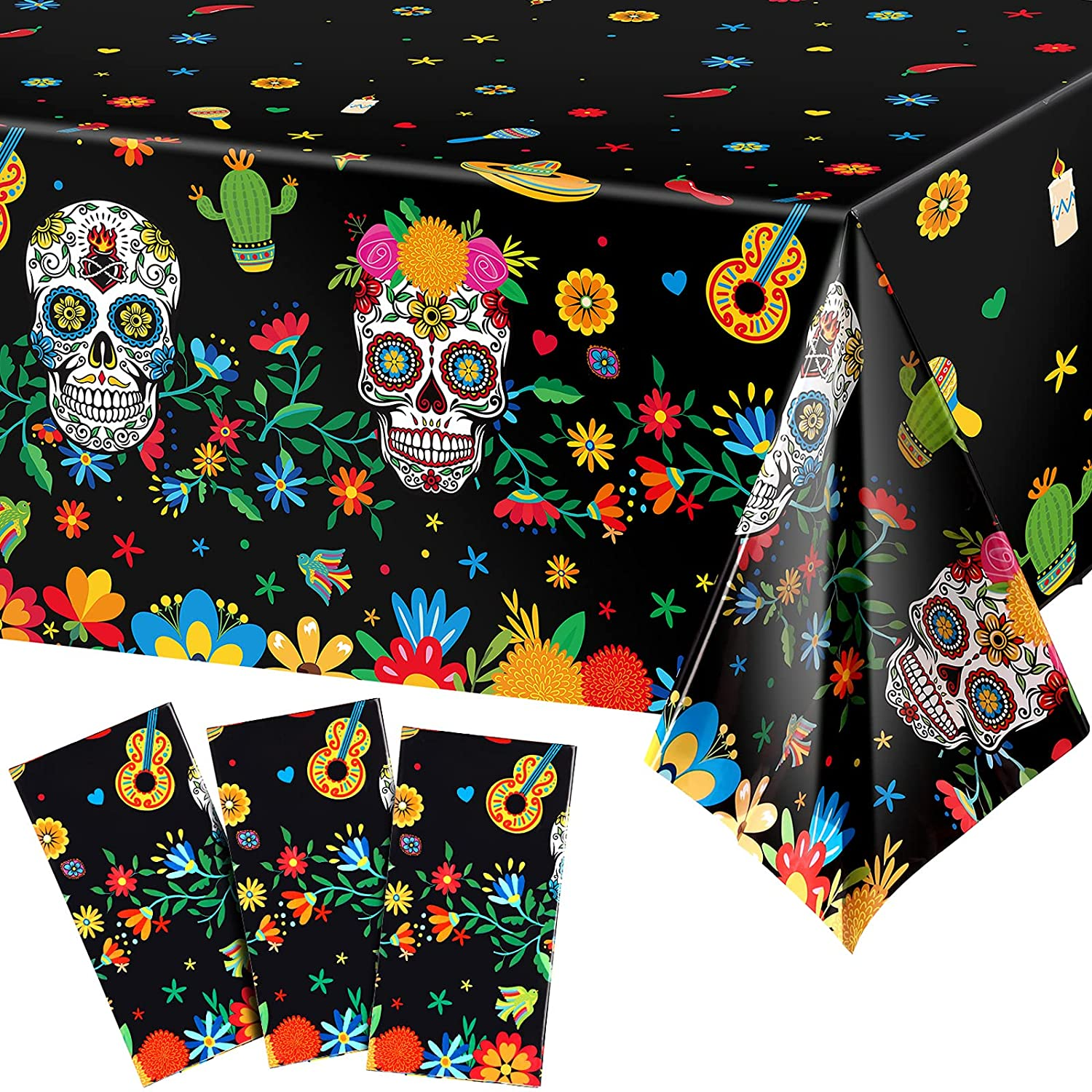 3 Pieces Day of The Dead Plastic Tablecloth Dia De Los Muertos Sugar Skull Floral Table Cloth Disposable Rectangle Table Cover for Halloween Mexican Fiesta Birthday Coco Party Supplies, 54 x 108 Inch