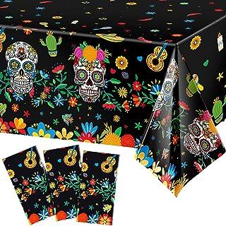 3 Pieces Day of The Dead Plastic Tablecloth Dia De Los Muertos Sugar Skull Floral Table Cloth Disposable Rectangle Table C...
