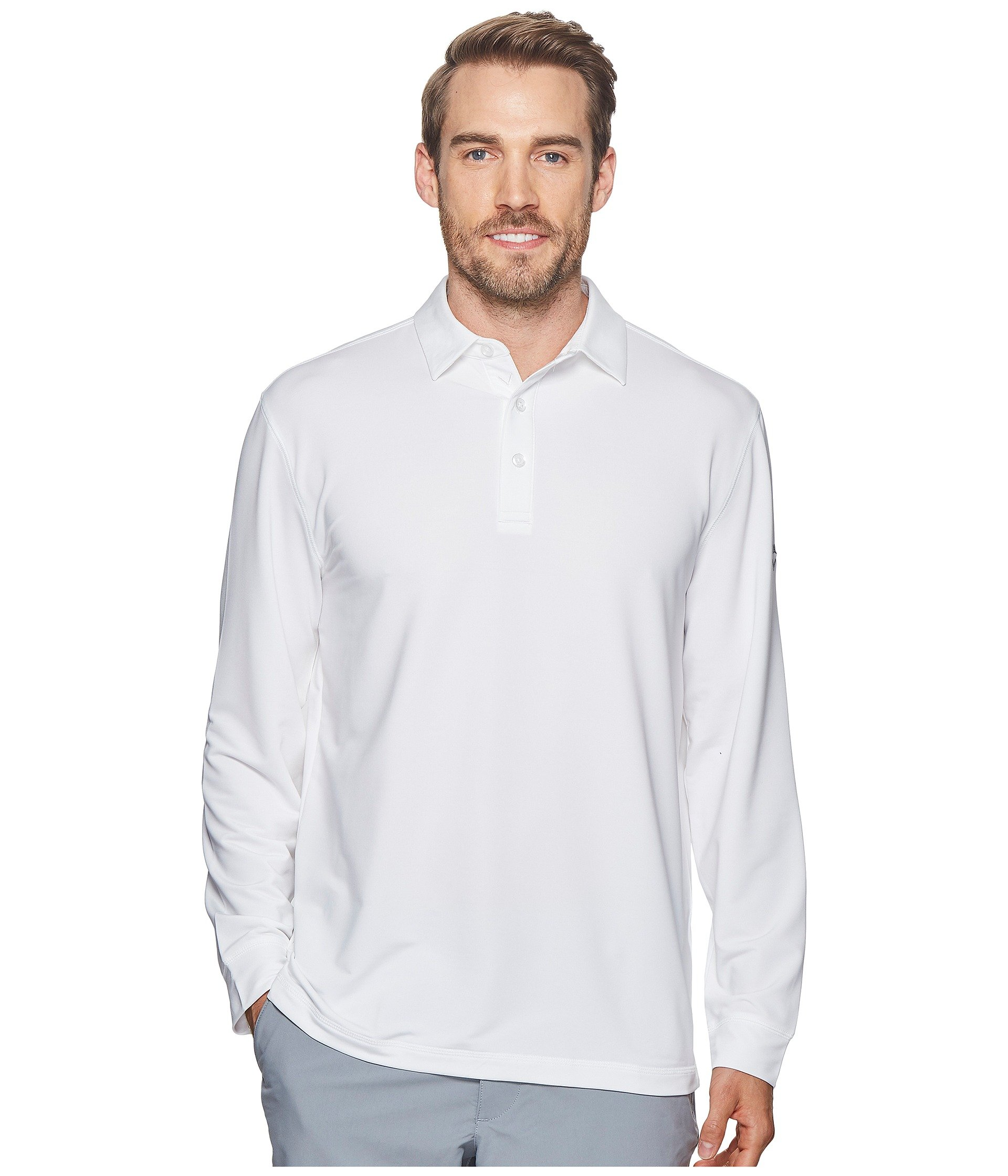 Polo French Sleeve Extra White Solid Soft Long Bright Heathered Terry Callaway xp8qIW