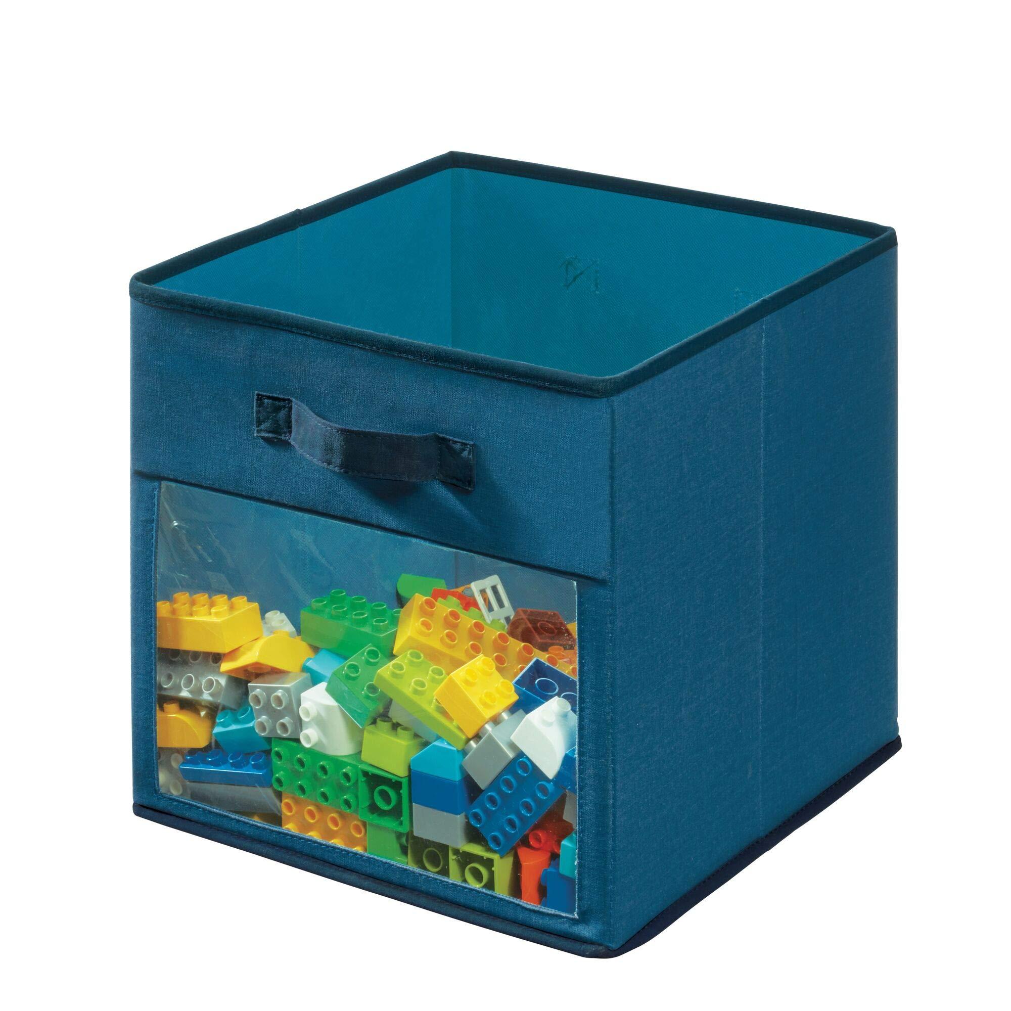 Idesign Tela, Caja Mediana En Mezcla De Algodón Y Poliéster Para Armario, Dormitorio O Cuarto Infantil, Organizador Plegable Con 2 Asas Y Ventana, Azul, X 33,0 Cm: Amazon.es: Hogar