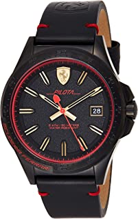 Ferrari Men's Black Dial Color Leather Strap Watch - 830460, Analog Display