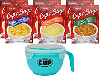 Lipton Cup-a-Soup Instant Soup Pouches, Chicken Noodle with White Meat, Spring Vegetable, and Cream of Chicken, 2 - 4 Coun...