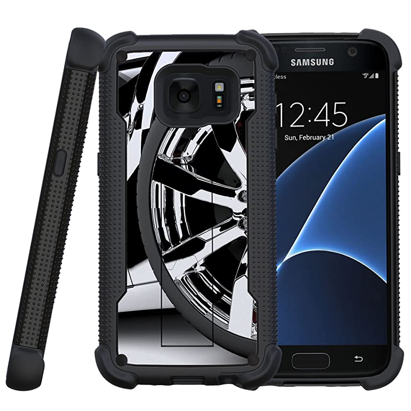 MINITURTLE Case Compatible w/Miniturtle Case for Samsung Galaxy S7 Case [Shockwave Armor] Hybrid Impact Bumper Layer Case w/Built in Stand Silver Rim