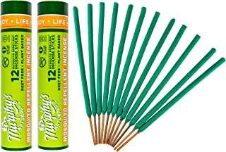 Murphy's Naturals Mosquito Repellent Incense Sticks | Bamboo Incense w/Citronella, Rosemary, Lemongrass, Peppermint & Cedarwood Essential Oils | Plant Based DEET Free | 12 Sticks per Tube | 2 Pack