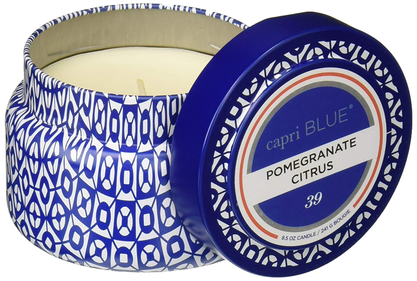 Capri Blue SYNCHKG033206 Pomegranate Citrus Printed Travel Tin 8.5oz, None, 8 Ounce