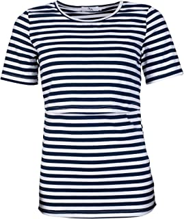 Elma & Me Striped Maternity Nursing top, Short Sleeve