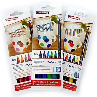 Edding 4200 Porseleinen penseelstift, 3 x 6-delige set, 1-4 mm, Family-, warm-, cool-colour set