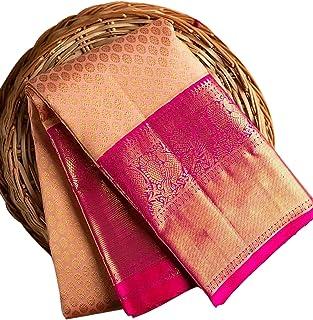 KRUSHNTVASHMI CREATION Women's Jacquard Silk Blend Saree With Blouse Piece (RS450_peachpink _Peach Pink)