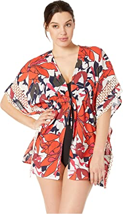 Wild Lotus Tie Front Caftan Cover-Up