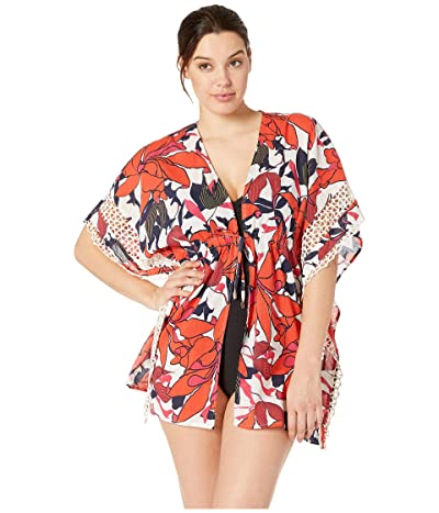Vince Camuto Wild Lotus Tie Front Caftan Cover-Up (Multi) Women
