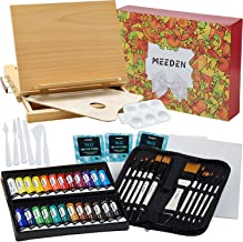 MEEDEN 48 Pcs Acrylic Painting Set - Solid Beech Wood Sketchbox Easel, 24×12ML Acrylic Paint Set, Canvas Panels, Acrylic P...