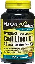 MASON NATURAL, Cod Liver Oil 20 Minims Food Supplement Softgels - 100 Ea