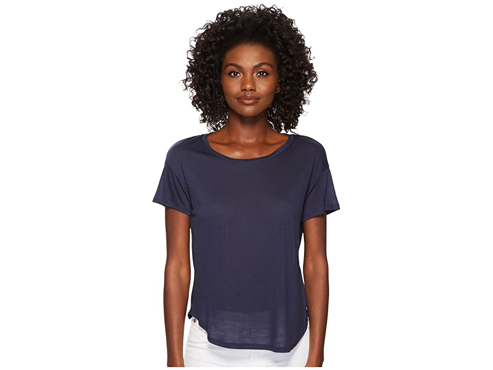 Three Dots Tencel Short Sleeve Shirttail Hem Tee (Night Iris) Women