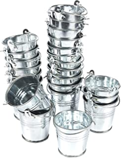 24-Pack Small Metal Buckets – 2-Inch Silver Mini Pails with Handles, for Party..
