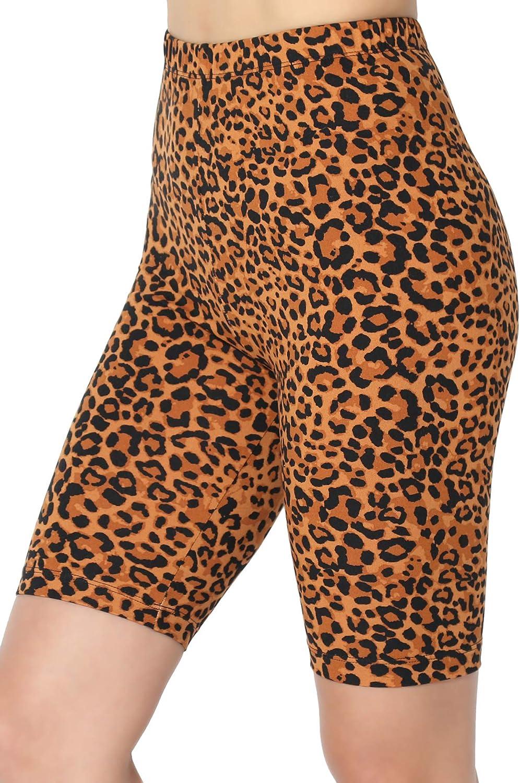 TheMogan Animal Print Mid Thigh Microfiber High Waist Stretch Short Leggings