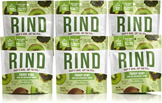 RIND Snacks Tangy Kiwi Sun-Dried Skin-On Superfruit Snack, High Fiber, No Sulfites, Antioxidants from Vitamin C, Non-GMO, Gluten-Free, 1.5oz Single Serve Pouch, Pack of 6