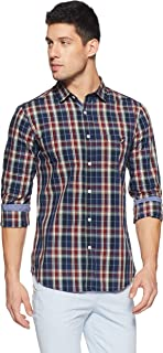 Amazon Brand - House & Shields Men's Checkered Regular Fit Full Sleeve Cotton Casual Shirt