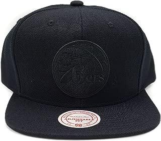 Mitchell & Ness Philadelphia 76ers Solid Wool Vintage Black Logo Adjustable Snapback Hat