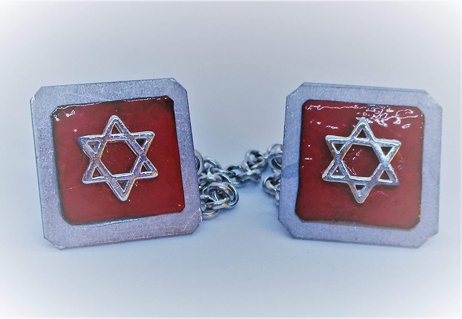 Tallit Clips - Star 5 ☆ popular of Red David Enamel New Orleans Mall on Copper