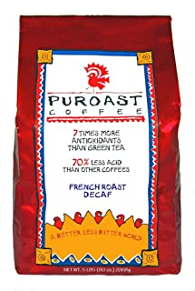 Puroast Low Acid Coffee Dark French Roast Natural Decaf Whole Bean, 5-Pound Bag