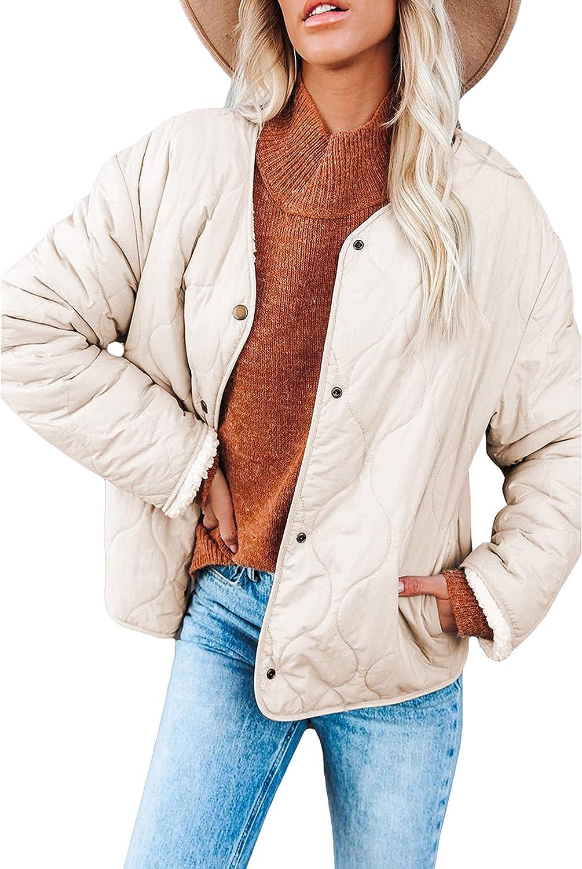 Springrain Womens Casual Puffer Jacket Winter Sherpa Lined Reversible Button Coat
