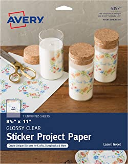 "Avery Printable Sticker Paper for DIY Crafts, Glossy Clear, 8.5"" x 11"", Laser & Inkjet Printers, 7 Sheets (4397)"