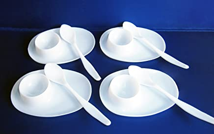 Preisvergleich für 4x EIERBECHER mit LÖFFEL aus Kunststoff WEISS Eierhalter Eierbehälter 73
