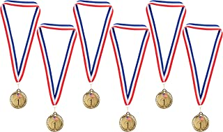Juvale Gold Medals - 6-Pack Metal Olympic Style Winner Awards, Perfect for Sports, Competitions, Spelling Bees, Party Favors, 2.75 Inches Diameter with 16.3 Inch USA Ribbon