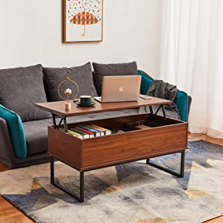 Lift Top Coffee Table Dining Table for Living Home, Display with Hidden Storage Compartment & Storage Space and Lift Tabletop, Walnut Itaar