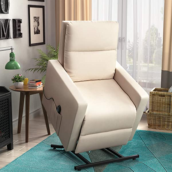 Harper Bright Designs 189703 Power Elderly Lift Electric Recliner Chairs With Remote Control Soft Fabric Lounge One Size Beige