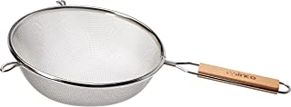 Winco MS3A-8S Strainer with Single Fine Mesh, 8-Inch Diameter, Medium, Stainless Steel, Tan