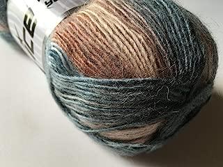 Dusty Denim, Clay & Cream Madonna - Wool Mohair Acrylic DK Self-Striping Yarn 100 Gram, 328 Yards (1 Skein)