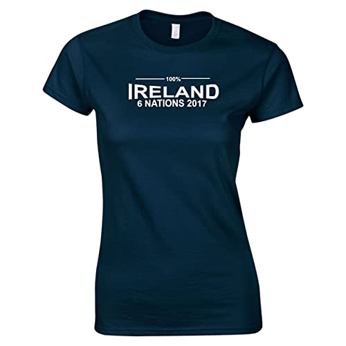 876ce6be1df 100% Ireland Rugby Six Nations 2017 T-Shirt Ladies Navy