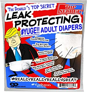 The Donald's Leak Protecting Adult Diapers - Yuge! - Funny Trump Gift Adult Diaper Gag Gift Funny Political Gift Donald Trump Covfefe Bigly Yuge Great Great Wall to Stop Leaks - Trump Diapers