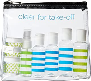 Miamica TSA Compliant Travel Bottles and Toiletry Bag Kit, 12 piece, Multi-Stripe