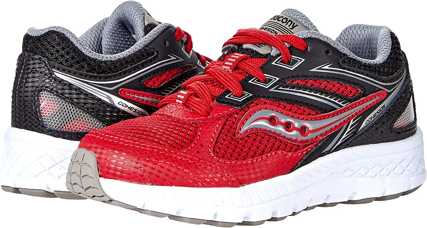 Saucony Cohesion 14 LACE to Toe Running Shoe, RED/Black, 10.5 Wide US Unisex Big_Kid