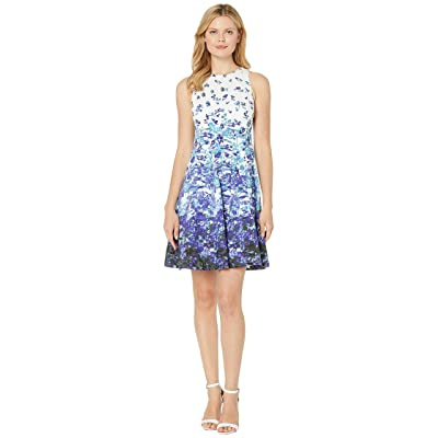 Maggy London Printed Cotton Fit Flare Dress (Soft White/Purple) Women