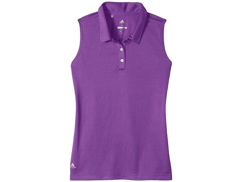 Image of adidas Golf Kids Tournament Sleeveless Polo (Big Kids) (Active Purple) Girl's Sleeveless