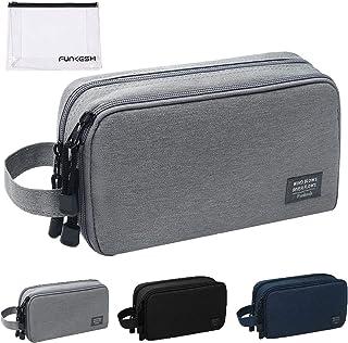 حقيبة أدوات الزينة للرجال مضادة للماء حقيبة سفر أدوات الحلاقة هدية مثالية أكسسوارات السفر, , رمادي - P003