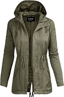 Womens Cotton Anorak Lightweight Utility Parka Jackets with Drawstring