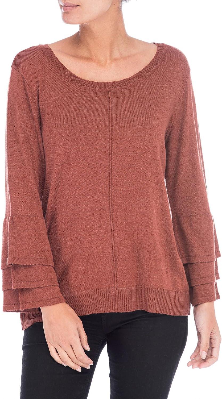 Bobeau Womens Cora Casual Ruffled Sweater