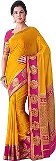 MIMOSA Mysore Silk Crepe Saree Color : Mustard Yellow (4411-2452-2D-GLD-RNI)