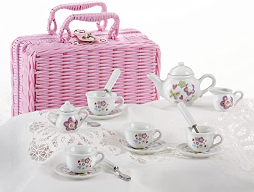 Delton Products Flower Design Porcelain Tea Set and Basket (17 Piece), 2.5