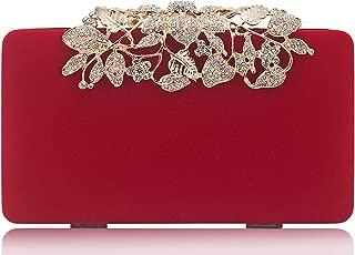 Womens Evening Bag with Flower Closure Rhinestone Crystal Clutch Purse for Wedding Party