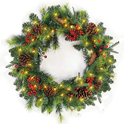 Amazon Com National Tree Company Pre Lit Artificial Christmas Wreath Flocked With Cones And Pre Strung White Lights Carolina Pine 24 Inch Home Kitchen