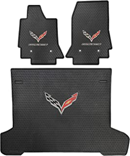 Lloyd Mats Signature Rubber All Weather Floor Mats for Corvette C7 2014 - ON 2pc Front, 1pc Cargo.