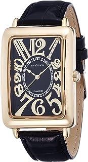 [ブルッキアーナ]BROOKIANA 腕時計 クオーツ 天然ダイヤモンド レクタンギュラーケース アラビアインデックス ブラック×ブラックレザー BA5101-GPBKBK メンズ 腕時計